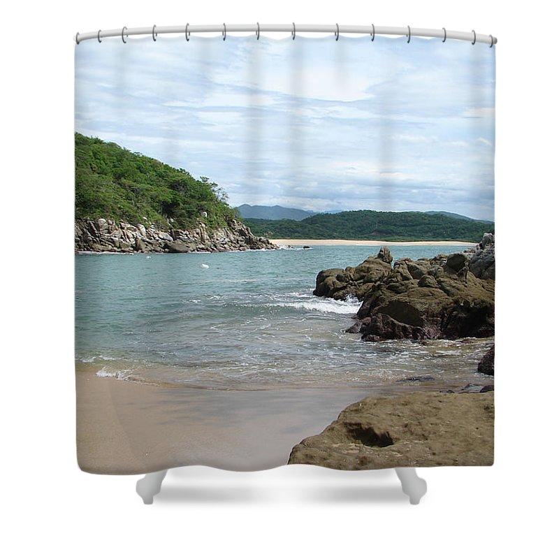 Sand Ocean Sky Blue Rocks Trees Shower Curtain featuring the photograph The Beach 1 by Luciana Seymour