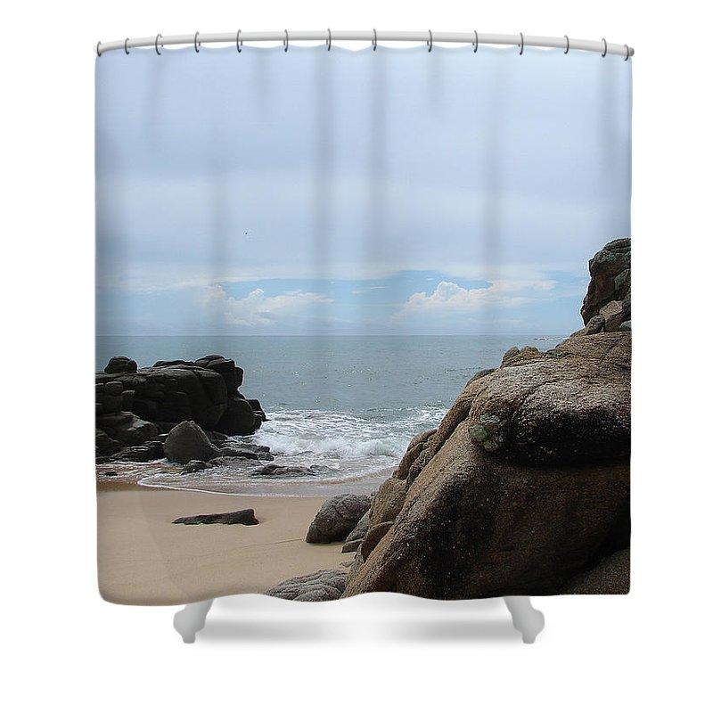 Sand Ocean Clouds Blue Sky Rocks Shower Curtain featuring the photograph The Beach 2 by Luciana Seymour