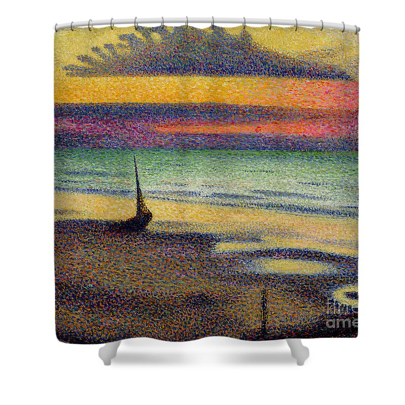 The Shower Curtain featuring the painting The Beach at Heist by Georges Lemmen