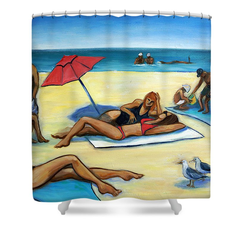 Beach Scene Shower Curtain featuring the painting The Beach by Valerie Vescovi