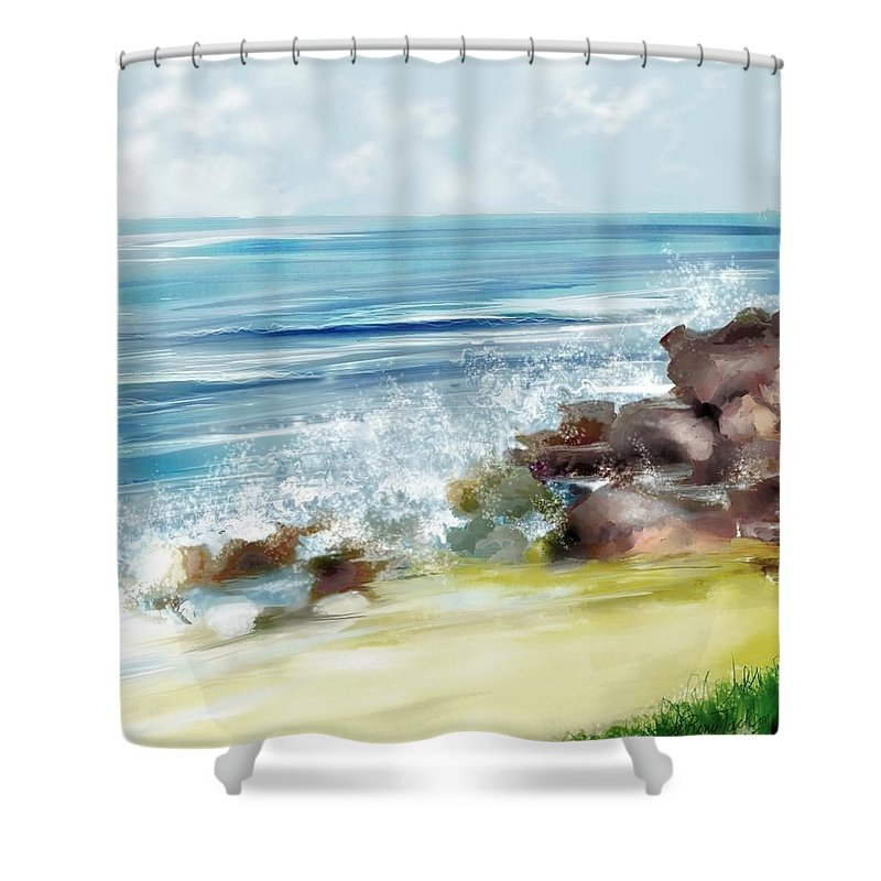 Beach Ocean Water Summer Waves Splash Shower Curtain featuring the digital art The Beach by Veronica Jackson