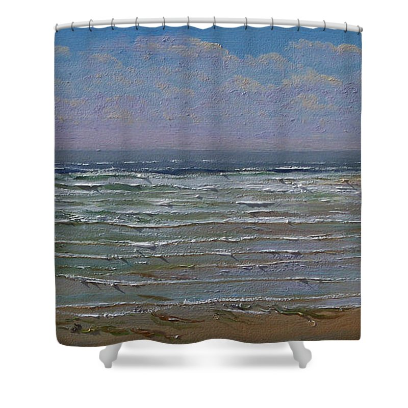 Seascape Shower Curtain featuring the painting The Beachcomber by Frank Wilson