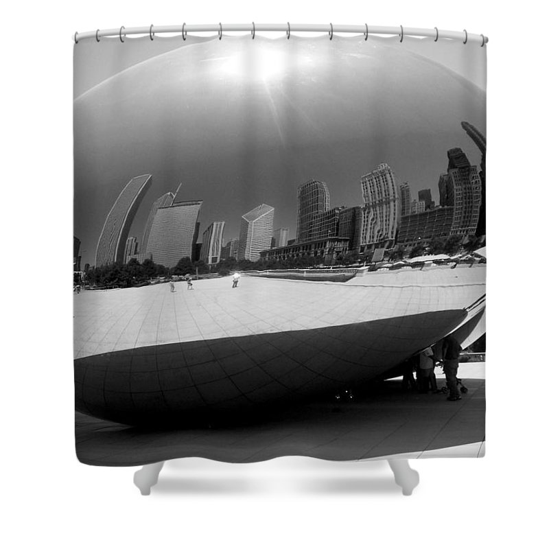 Chicago Shower Curtain featuring the photograph The Bean B-w by Anita Burgermeister