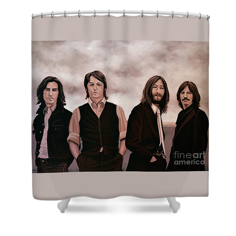 The Beatles Shower Curtain featuring the painting The Beatles 3 by Paul Meijering