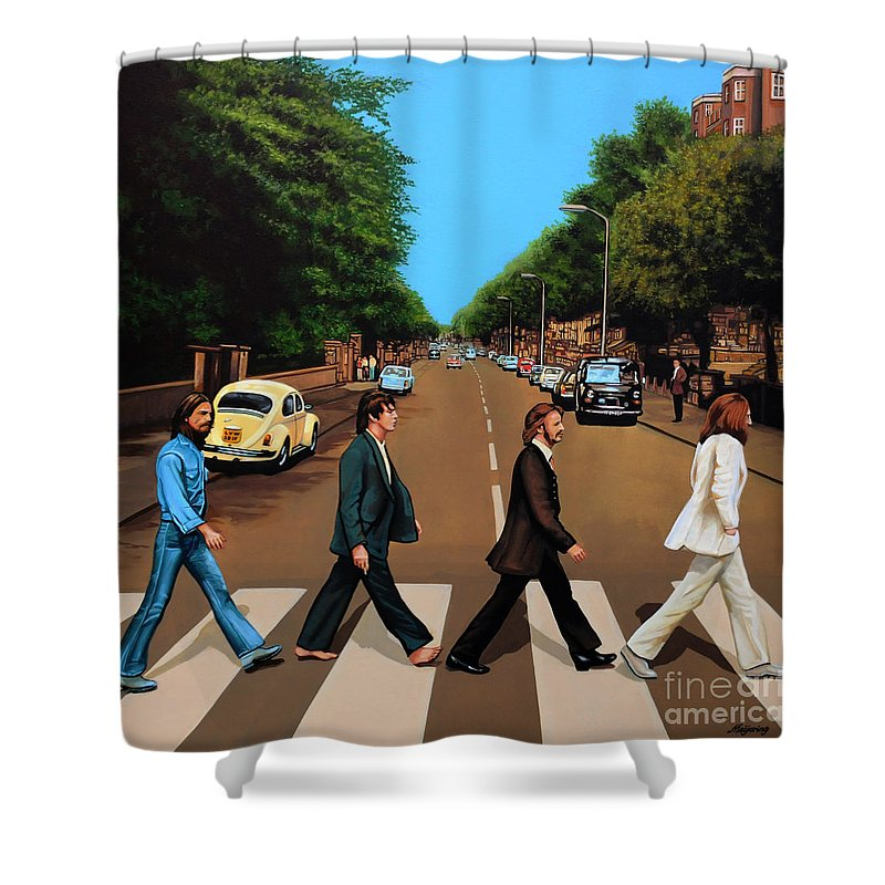 The Beatles Shower Curtain Featuring The Painting The Beatles Abbey Road By  Paul Meijering