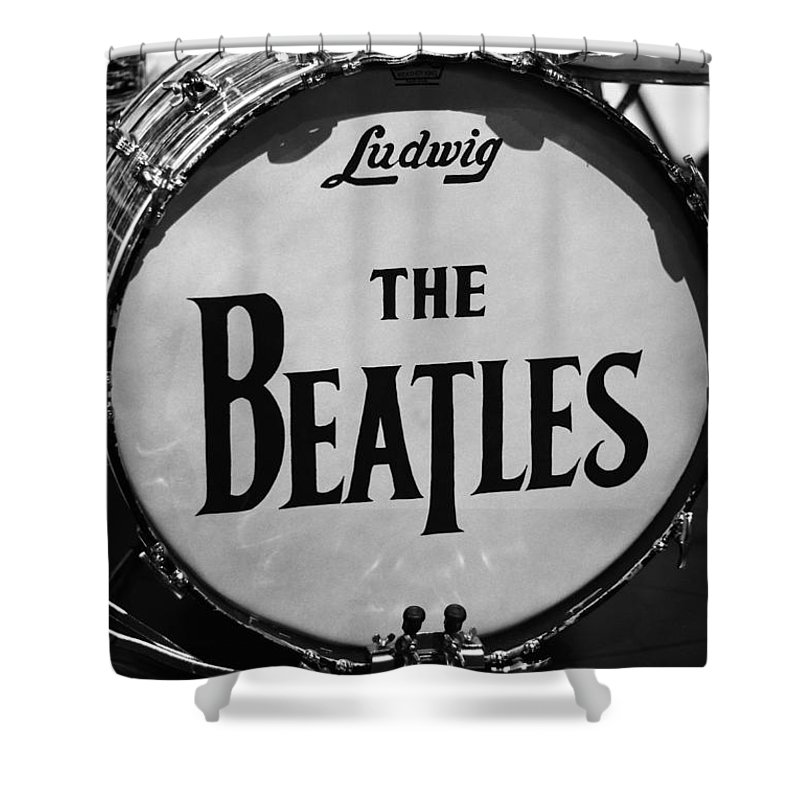The Beatles Drum Shower Curtain featuring the photograph The Beatles Drum by Dan Sproul