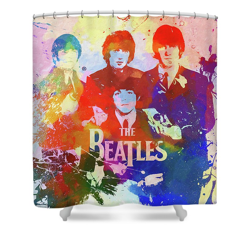 The Beatles Watercolor Shower Curtain featuring the painting The Beatles Paint Splatter by Dan Sproul