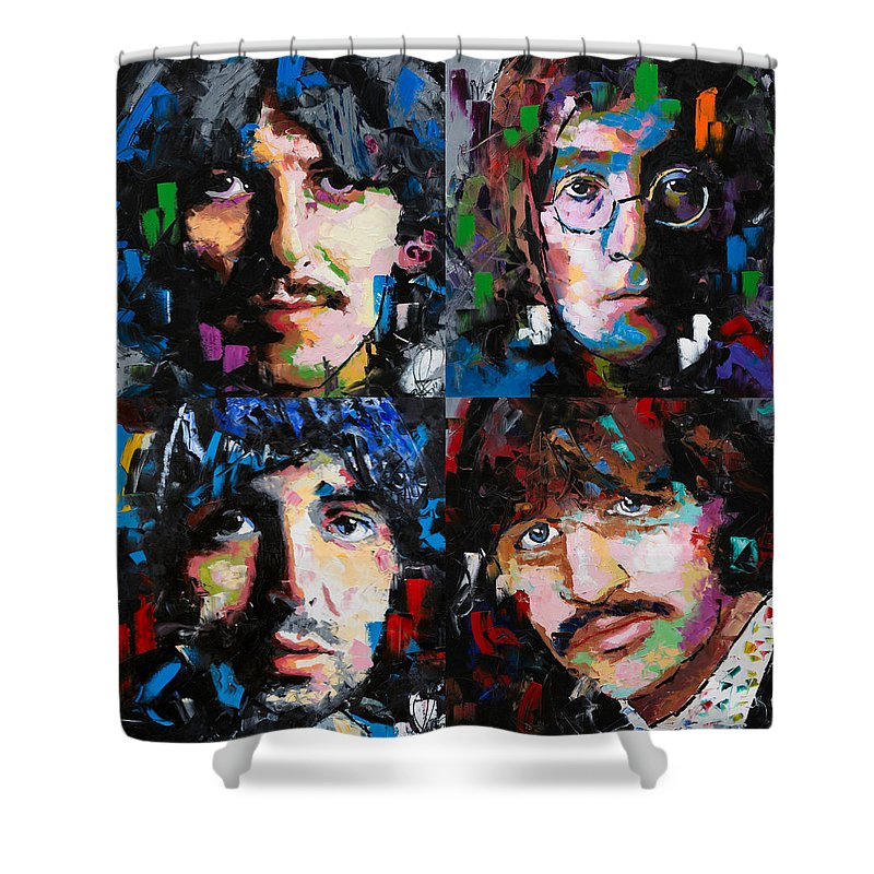 The Beatles Shower Curtain featuring the painting The Beatles by Richard Day