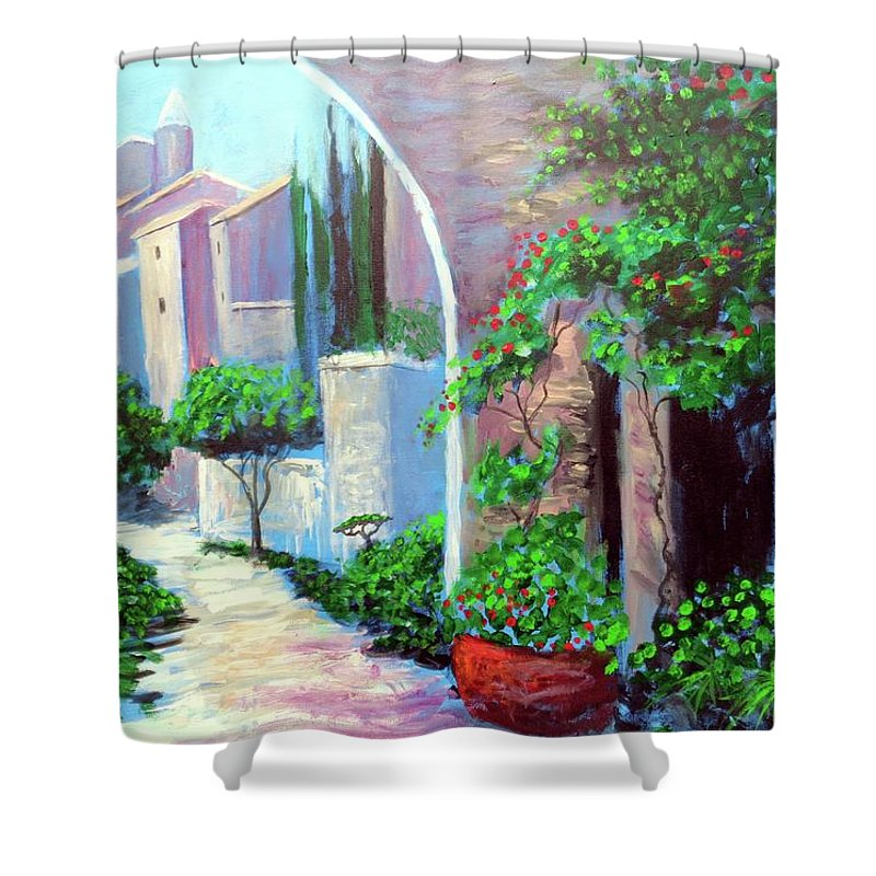 .italy Mediterranean Art Tuscany Shower Curtain featuring the painting The Beautiful Way by Larry Cirigliano