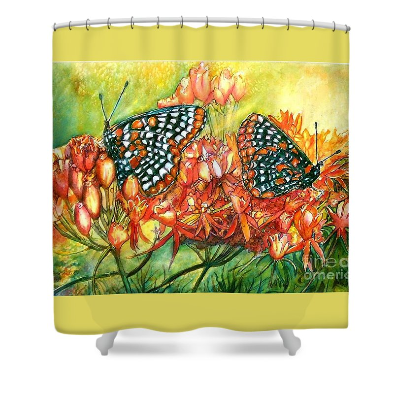 Butterflies Artwork Shower Curtain featuring the painting The Beauty Of Spring by Norma Boeckler