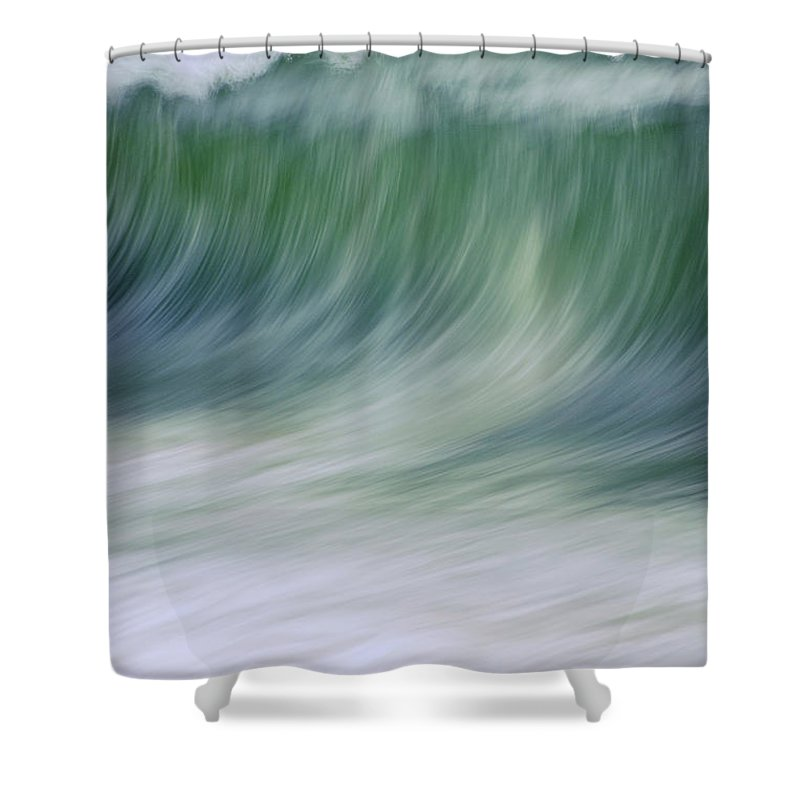 Waves Shower Curtain featuring the photograph The Beginning Curl by Jeanne McGee