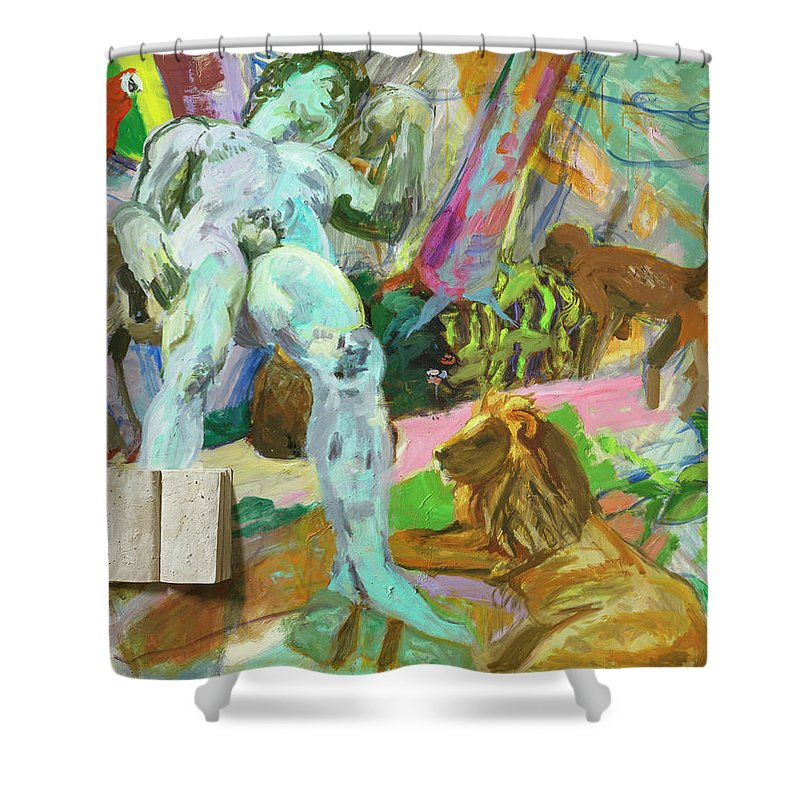 David Shower Curtain featuring the painting The Beginning Of Animal Stories by Regina Gately