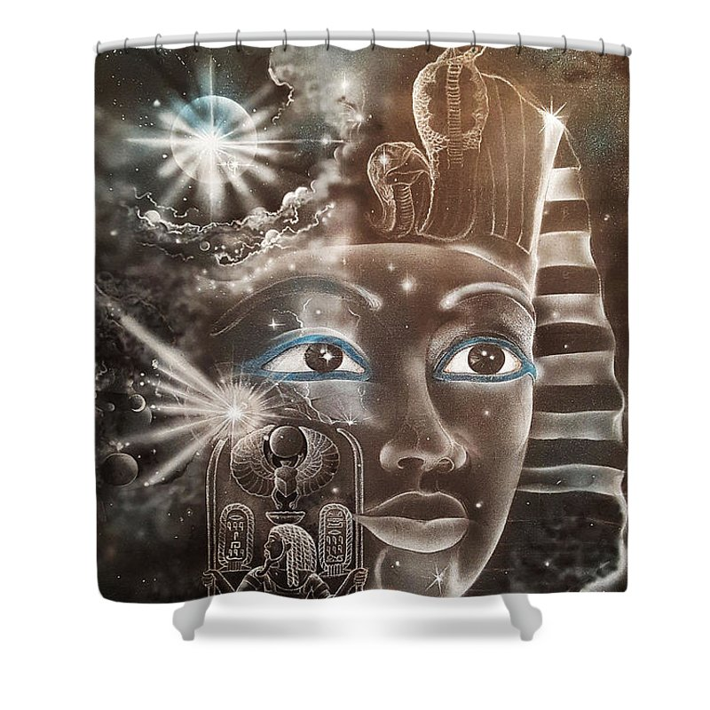 Shower Curtain featuring the painting The Beginning by Reshef Shabazz