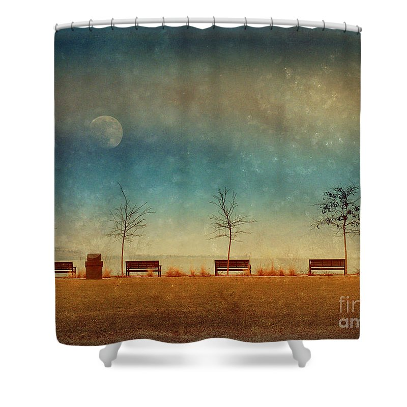 Moon Shower Curtain featuring the photograph The Benches By The Moon by Tara Turner