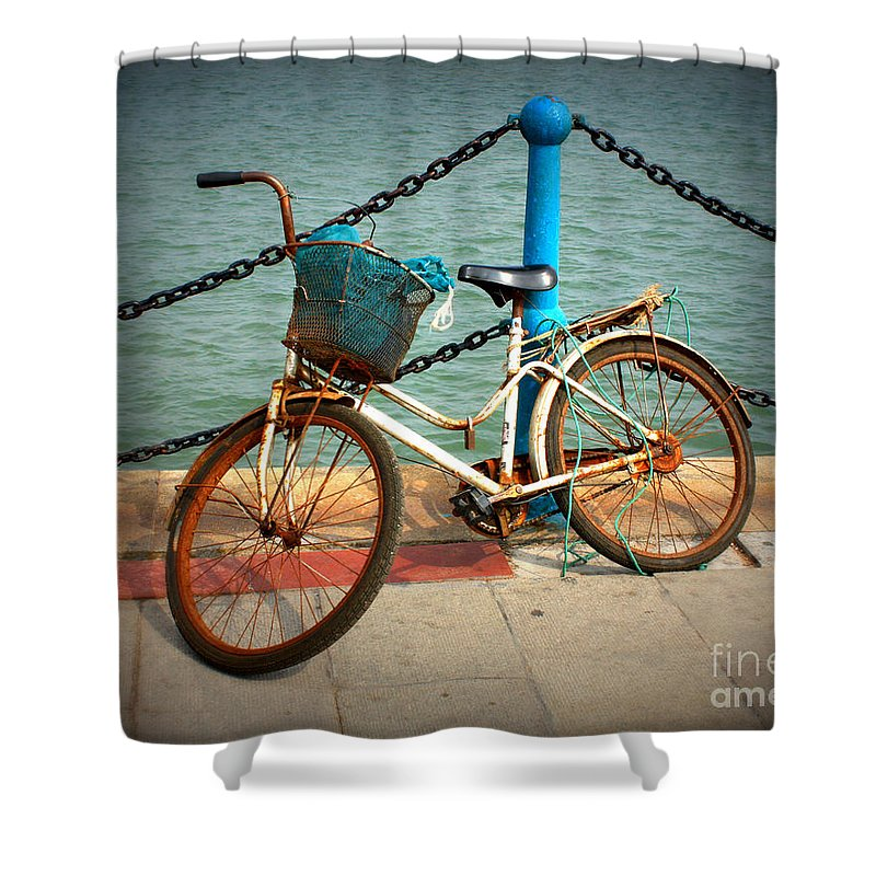 Stories Shower Curtain featuring the photograph The Bicycle by Carol Groenen