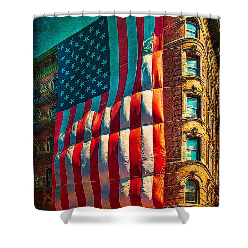 America Shower Curtain featuring the photograph The Big Big Flag by Chris Lord
