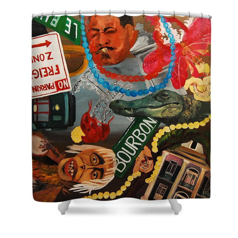 Louisiana Shower Curtain featuring the painting The Big Easy by Lauren Luna