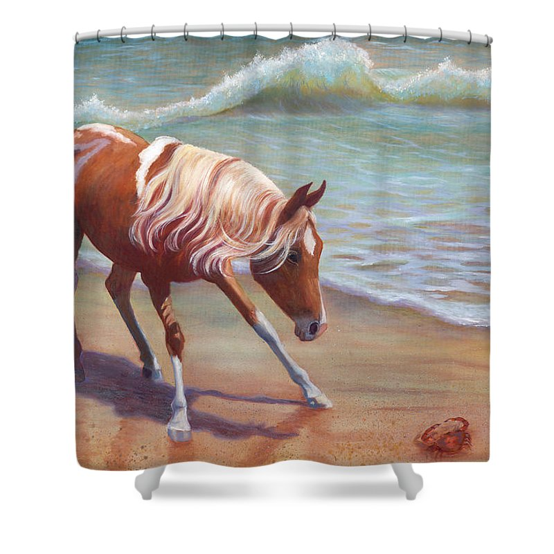 Animals Shower Curtain featuring the painting The Big Standoff by Brenda Griffin