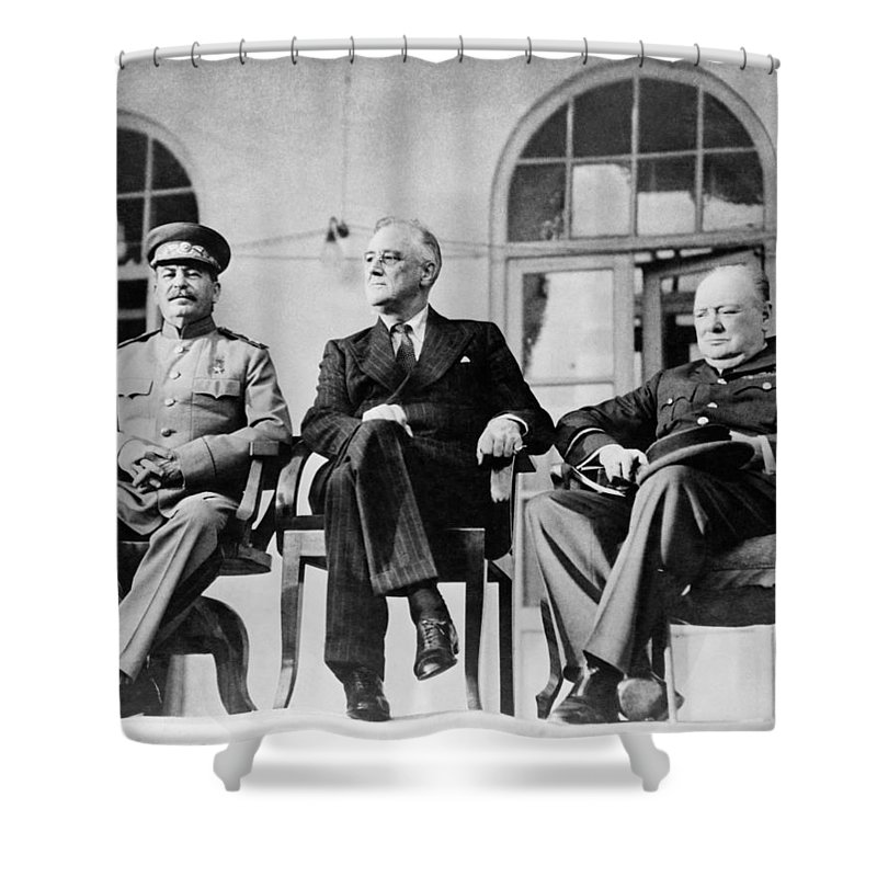Franklin Roosevelt Shower Curtain featuring the photograph The Big Three - Ww2 - Tehran Conference 1943 by War Is Hell Store