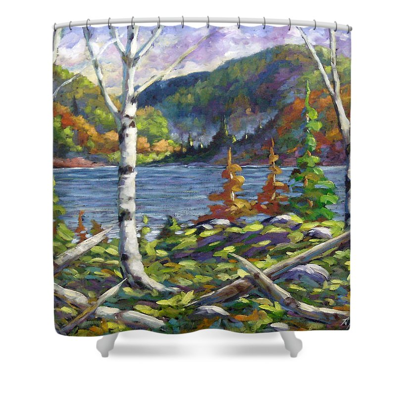 Art Shower Curtain featuring the painting The Birches by Richard T Pranke