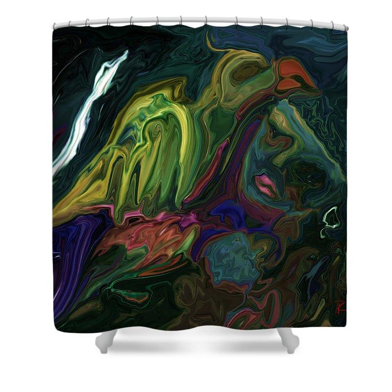Abstract Shower Curtain featuring the digital art The Bird Man by Rabi Khan