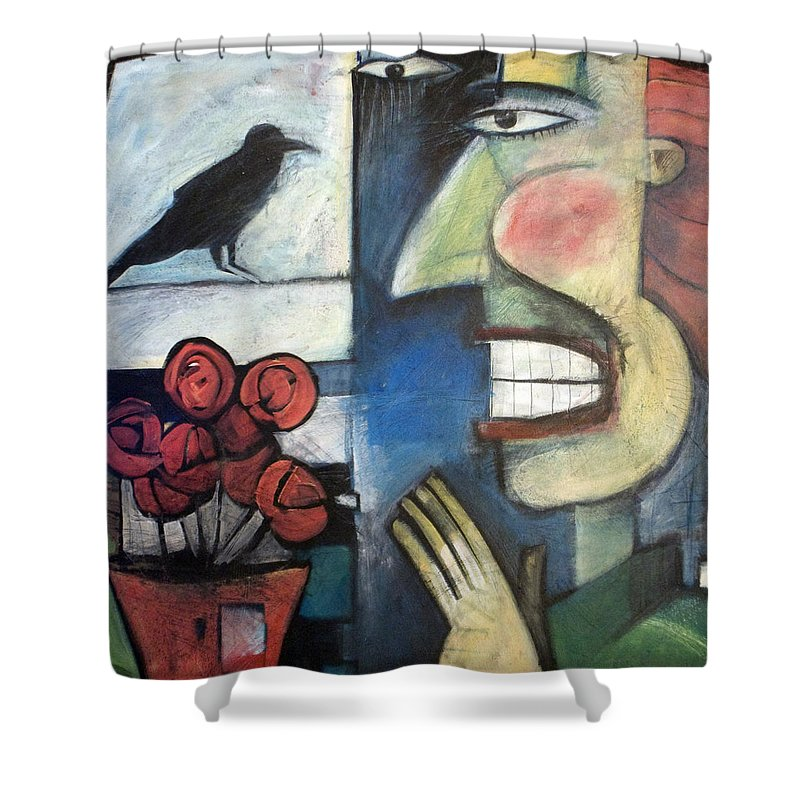 Bird Shower Curtain featuring the painting The Bird Watcher by Tim Nyberg