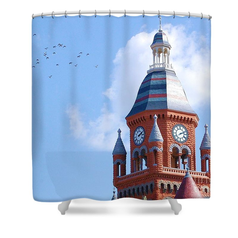 Clock Shower Curtain featuring the photograph The Birds by Debbi Granruth