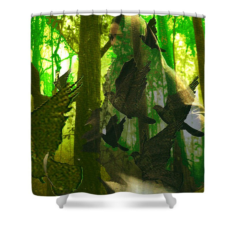 Birdwoman Shower Curtain featuring the digital art The Birdwoman by Seth Weaver