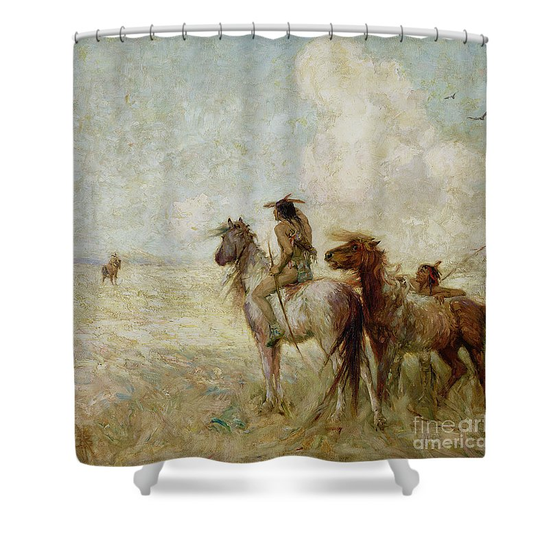 The Shower Curtain featuring the painting The Bison Hunters by Nathaniel Hughes John Baird