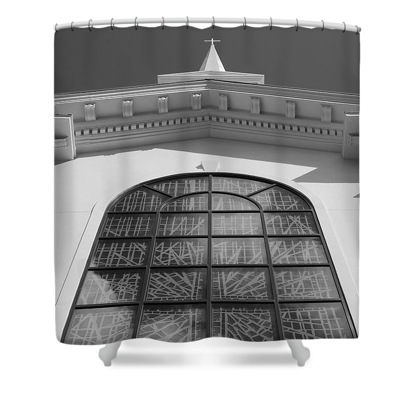 Church Shower Curtain featuring the photograph The Black And White Church by Rob Hans