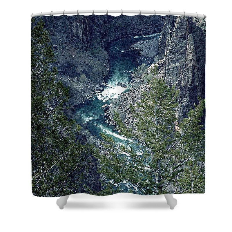Canyon Shower Curtain featuring the painting The Black Canyon Of The Gunnison by RC DeWinter