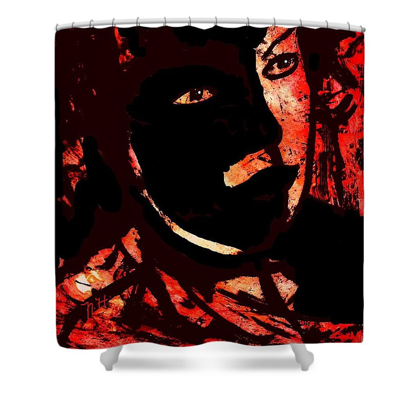 Mask Shower Curtain featuring the painting The Black Mask by Natalie Holland