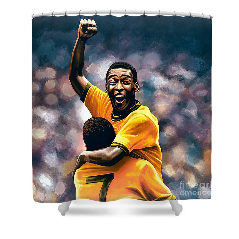 Pele Shower Curtain Featuring The Painting The Black Pearl Pele By Paul  Meijering