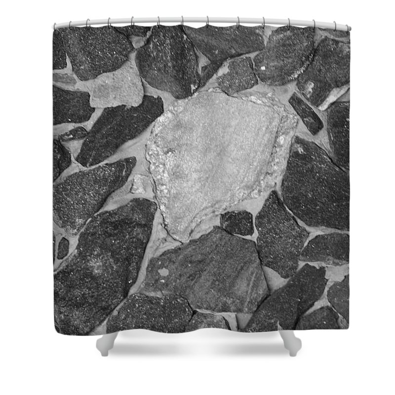 Black And White Shower Curtain featuring the photograph The Black Wall by Rob Hans