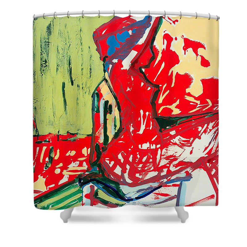 Woman Shower Curtain featuring the painting The Blue Chair by Kurt Hausmann