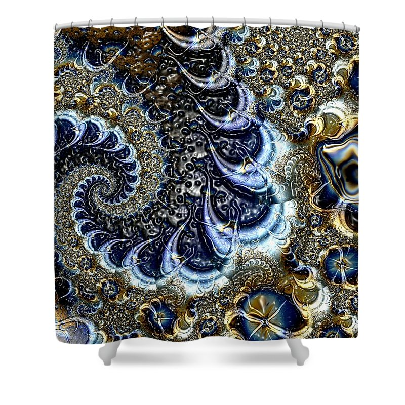 Fractal Diamonds Blue Jewel Dance River Shower Curtain featuring the digital art The blue diamonds by Veronica Jackson