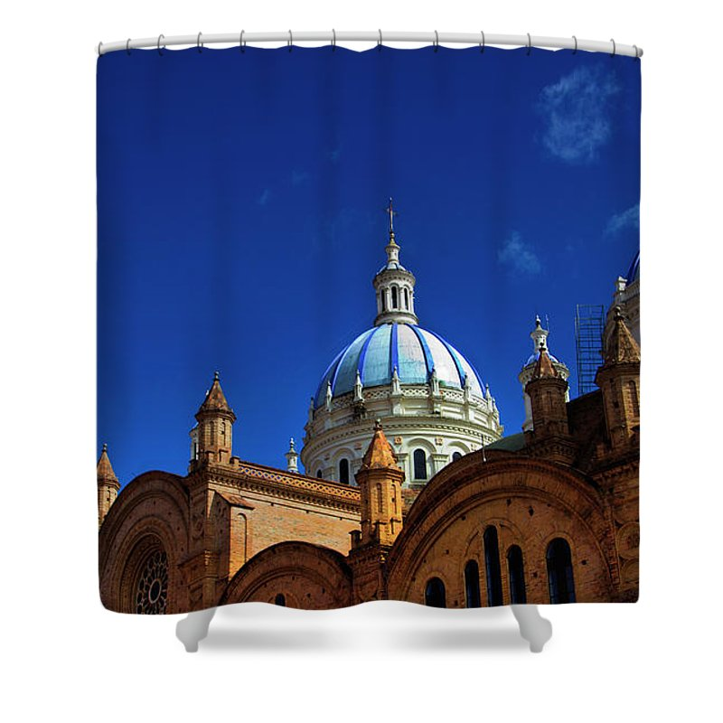 Immaculate Conception Shower Curtain featuring the photograph The Blue Domes Of Cuenca, Ecuador by Al Bourassa