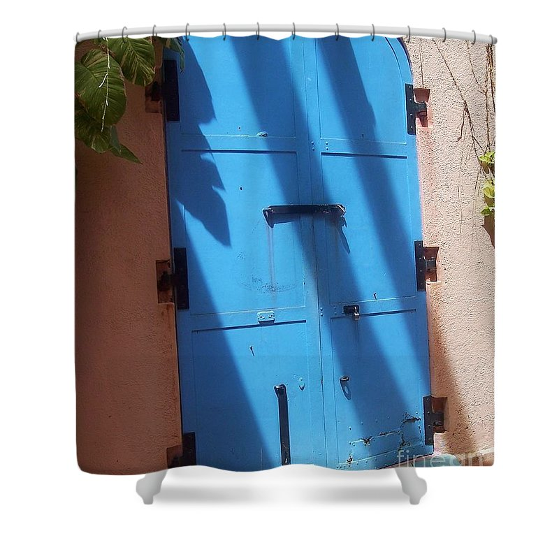 Architecture Shower Curtain featuring the photograph The Blue Door by Debbi Granruth