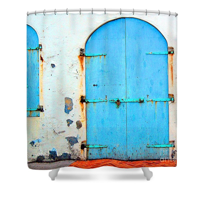 Door Shower Curtain featuring the photograph The Blue Door Shutters by Debbi Granruth