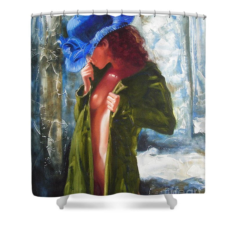 Art Shower Curtain featuring the painting The Blue Hat by Sergey Ignatenko
