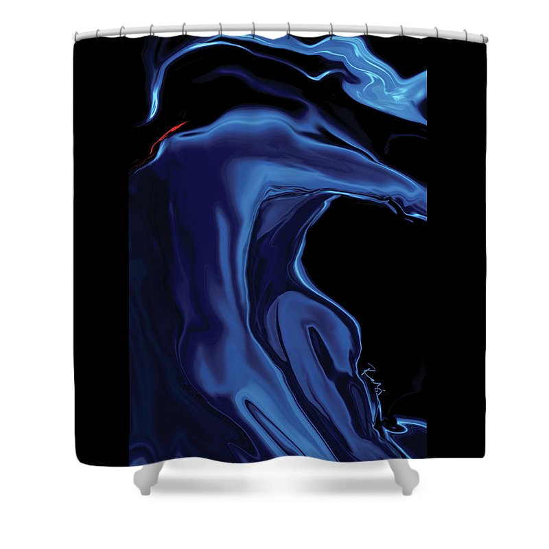 Abstract Shower Curtain featuring the digital art The Blue Kiss by Rabi Khan