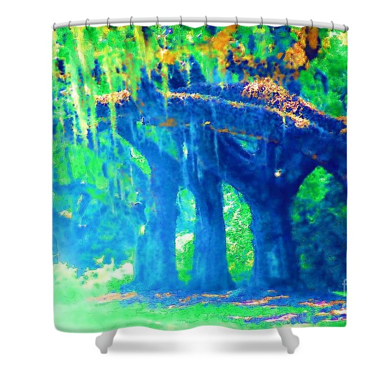 Blue Shower Curtain featuring the photograph The Blue Live Oaks by Donna Bentley