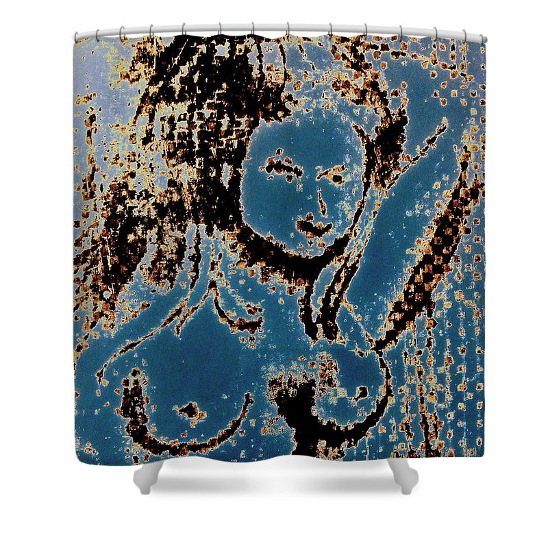 Nude Shower Curtain featuring the mixed media The Blue Nude by Natalie Holland