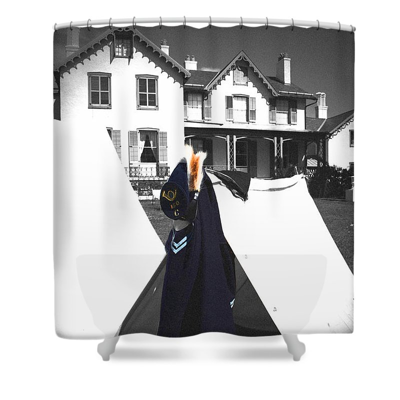Lincoln Shower Curtain featuring the photograph The Blue Of War At The Cottage by Jost Houk