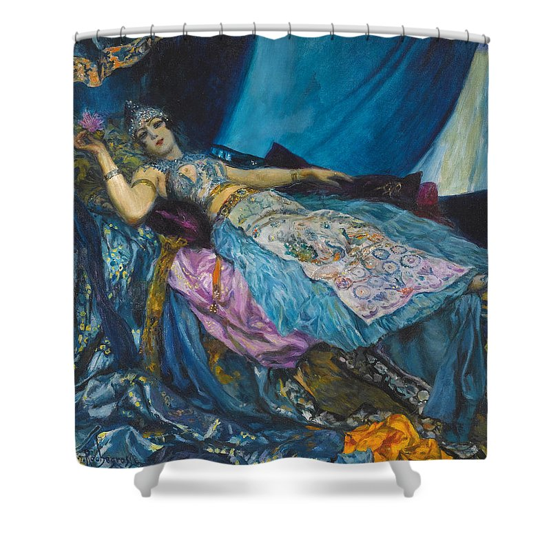 George Antoine Rochegrosse Shower Curtain Featuring The Painting Blue Princess By