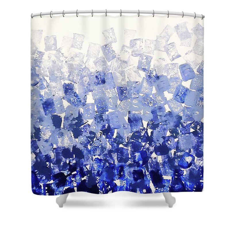 Blue Squares Shower Curtain featuring the painting The Blues Blocks by Jilian Cramb - AMothersFineArt