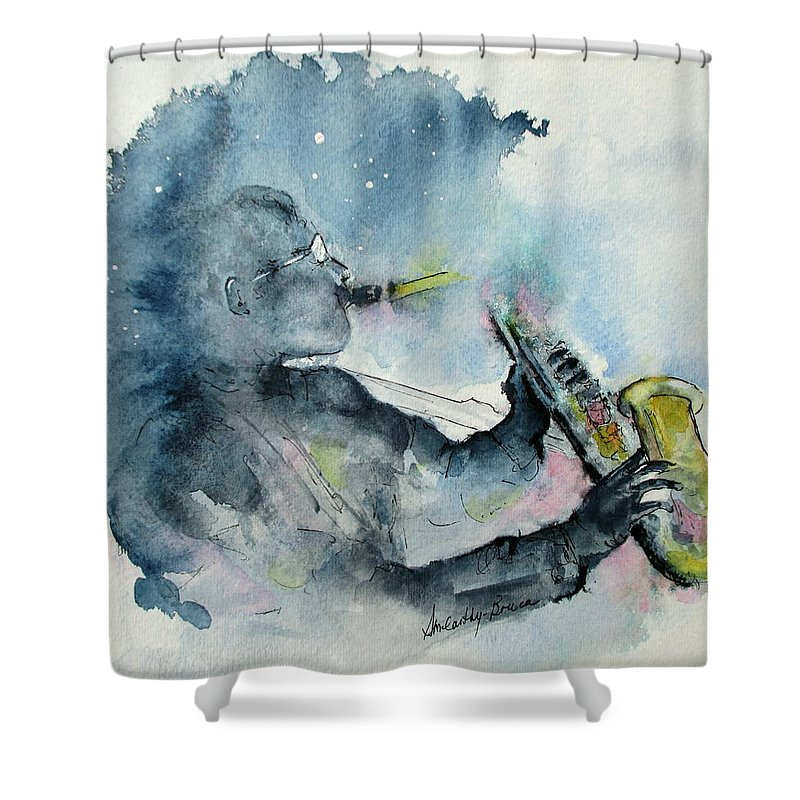 Watercolor Shower Curtain featuring the painting The Blues In The Night by April McCarthy-Braca