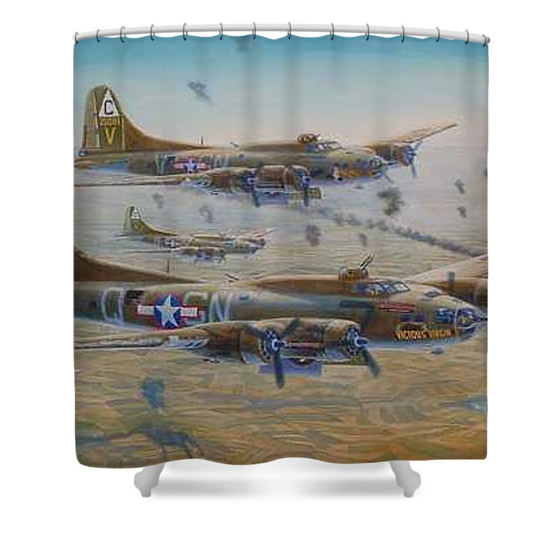 303rd Bomb Groups Vicious Virgin Shower Curtain featuring the painting The Bomb Run Over Schwienfurt by Scott Robertson