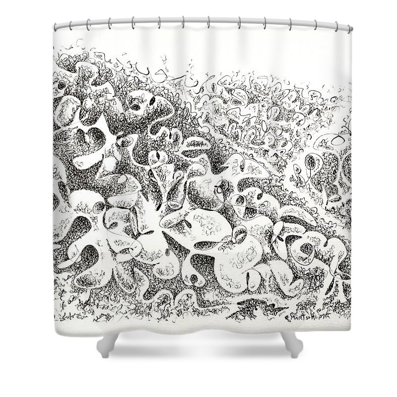 Paper Shower Curtain featuring the drawing The Boneyard Of Unused Shapes by Dave Martsolf