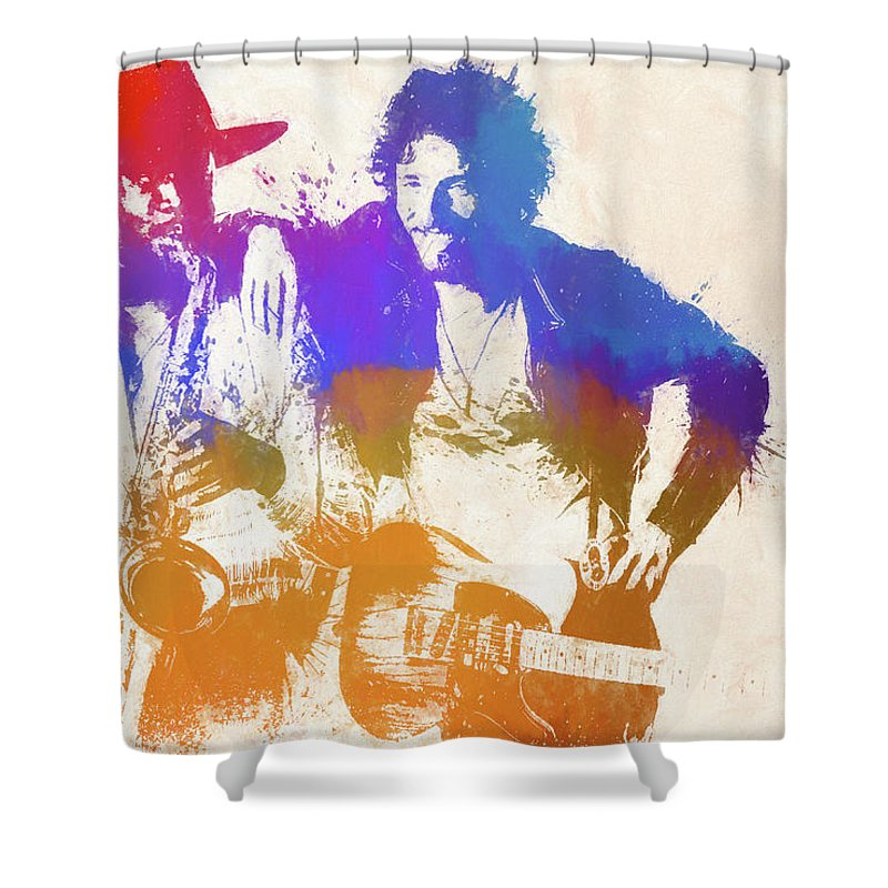 Bruce And The Big Man Shower Curtain featuring the painting The Boss And The Big Man by Dan Sproul